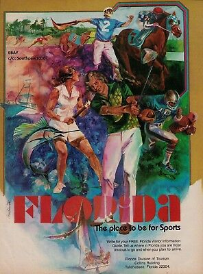 """1977 Florida """"The Place To Be For Sports"""" Vintage Travel Tourism Print Ad"""
