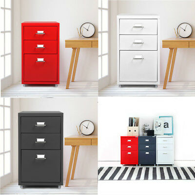 NEW Rolling Metal File Cabinet Mobile Storage Filing Cabinet w/ 3 Drawers A8I4