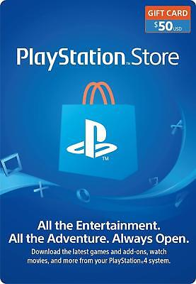$50 USD PlayStation Network Store PSN Card - Digital or Physical Delivery