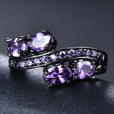 Elegant Oval Purple Amethyst Wedding Ring 10Kt Black Gold Jewelry Gift Size 5-11