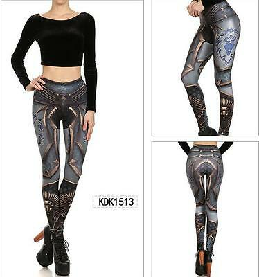 Woman legging Gun Armor Comic Cosplay printed legging set bra crop top set S-XL
