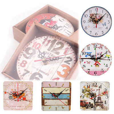Rustic Vintage Shabby Wooden Wall Clock Kitchen Home Chic Table Clock Decor
