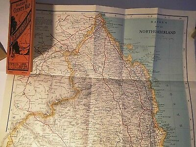 Northumberland- Bacon's Cycle And Road Map C1910-25 On Very Old Os Base Survey