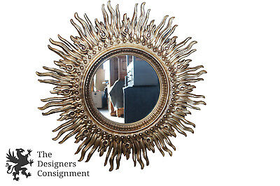 47'' Vintage Mid Century Hollywood Regency Mirror Gold Starburst Sunburst Sun