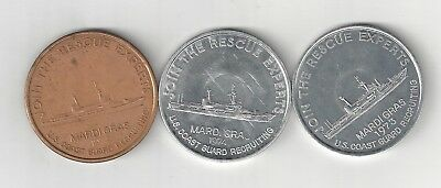 1973 1974 U.s. United States Coast Guard Recruiting Rescue Ship Coin Tokens