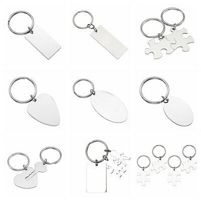 Custom Engraved Stainless Steel Puzzle Heart Key Keychain Set Couple Gift