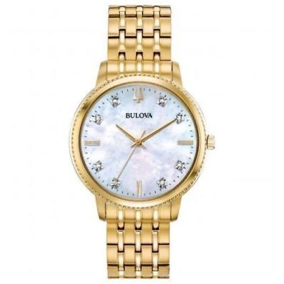 Bulova 97P134 Ladies Diamond Accented Gold Tone Stainless Steel Watch w MOP Dial