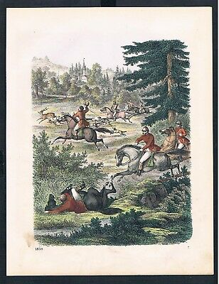 1859 - Fuchsjagd Fuchs fox Jagd hunting Great Britain Original Lithographie