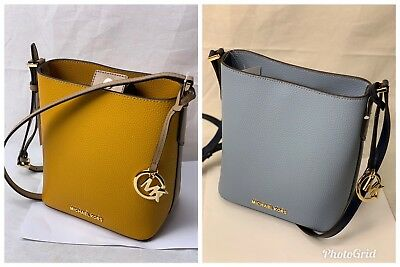 df94c5a9b95b Nwt Michael Kors Kimberly Small Leather Crossbody Bucket Bag In Various  Colors
