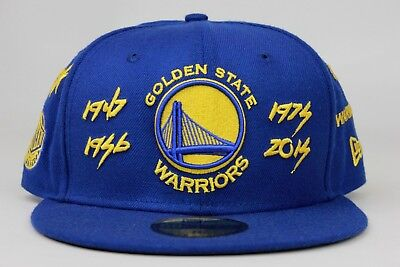 low priced f46da be632 Golden State Warriors Team Archive Blue Yellow Patch New Era 59Fifty Fitted  Hat