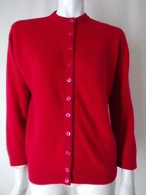 DALTON Vtg 100% CASHMERE Red Sweater Pinup Cardigan M