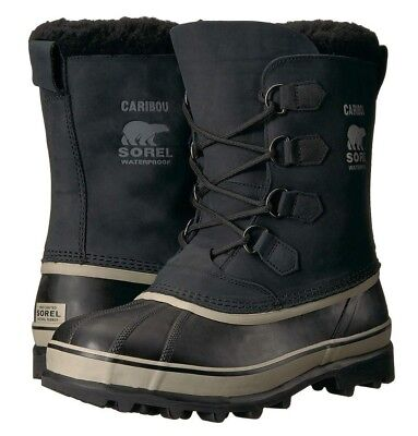 SOREL Men's Black Tusk Caribou Winter Snow Boots Size New with Tags NWOB