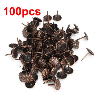 100pcs 11x16mm Elegant Vintage Upholstery Nails Bronze Metal Tags For Furniture