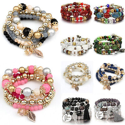4Pcs I Love You Multilayer Crystal Natural Stone Bangle Beaded Bracelet Jewelry