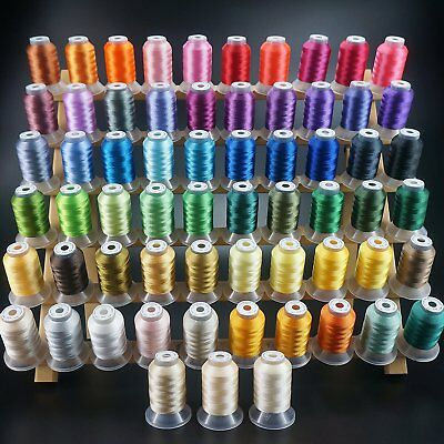 63 Colours Polyester Sewing & Embroidery Machine Thread Kit 500M Each - 40WT