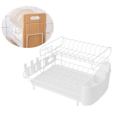 2 Tier Dish Rack Plastic Drainer Kitchen Plate Drying Cutlery Holder Tray Dryer