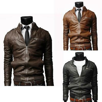Men Motorcycle Leather Jacket Fashion Slim Stand Collar PU Leather Coat EH7E