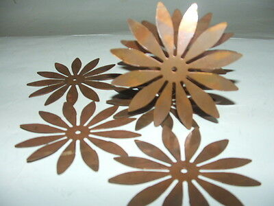 """qty 6 Vintage 3.5"""" BRASS FLOWER CUTOUTS with Center Hole Findings Gr8 4 Crafting"""