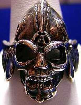 LOOK Battle Armor Skeleton Warrior Ring Silver Gothic Skull