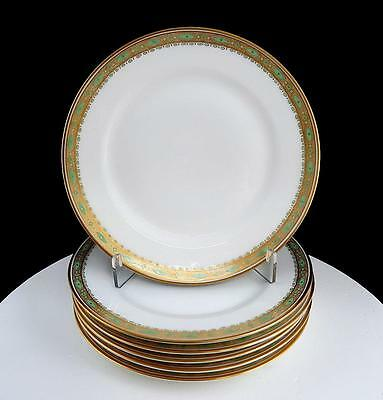 """Theodore Haviland Limoges France 6 Gold & Green 6 1/4"""" Bread & Butter Plates"""