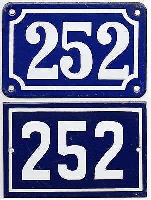 Old blue French house number 252 door gate wall fence street sign plate plaque