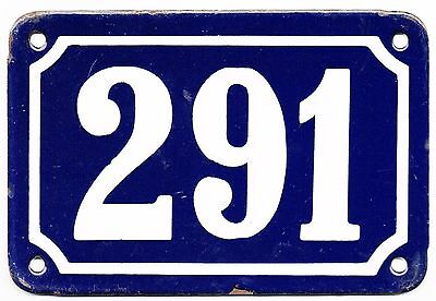 Old blue French house number 291 door gate plate plaque enamel steel metal sign