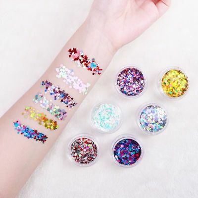 NICEAUTY 6PCS/Set of Glitter Powder Face Body Hair Nails Make Up Decoration AU