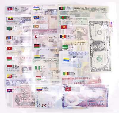 Lot 52Pcs Different Paper Money Banknotes From 25 Countries World No Repeat UNC