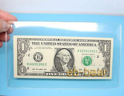 10 Pcs Clear Hard Plastic Sleeve Clip Paper Money Notes Bills Holder 108mmX180mm