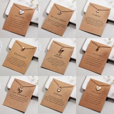 Cute Animal Necklace Cat Pendant Gold Clavicle Chains Choker Card Jewellery Gift