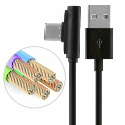 90 Degree Right Angle Type C/IOS/ Micro USB Fast Data Sync Charger Cable Black