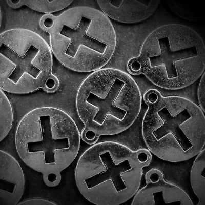 Lot Cross Tibetan 30g Tag Silver Jewelry Ding Round Pcs 23 Pendant Charms