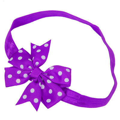 1x Elastic Baby Headdress Kids Hair Band Girls Bow Newborn Headband Ribbon Dot