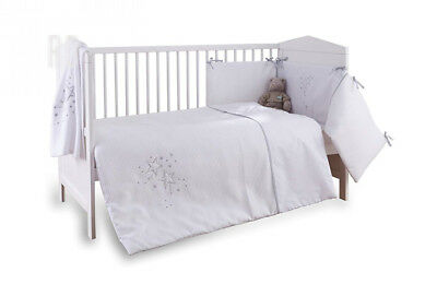 Clair de Lune 3-Piece White Stardust Cot/Cot Bed Quilt, Bumper and Fitted...