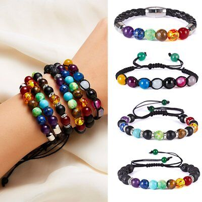 7 Chakra Yoga Natural Stone Beaded Bracelet Cubic Charm Braided Valentine's Day