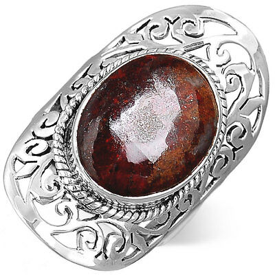 925 Sterling Silver Filigree Ring Jasper Gemstone Chunky Womens Size 6