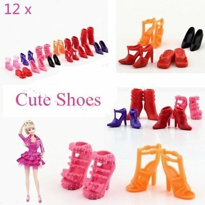 Colorful Assorted Shoes Different Styles Fashion 12 pairs For Barbie Doll AF