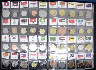 Lots 60 Countries Regions Coins Collection Books World Currency With Flags