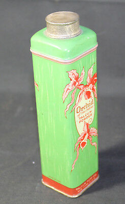Antique Orchid of the Indies Tall Green Flower Graphics Talcum Powder Tin