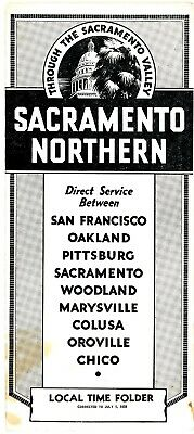Sacramento Northern Railway, system interurban passenger time table July 1, 1939