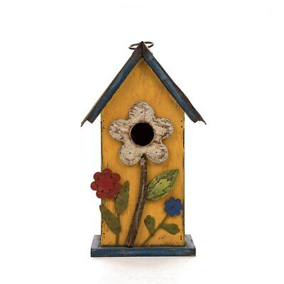 Glitzhome 10.24''H Distressed Solid Wood Birdhouse w/Flower
