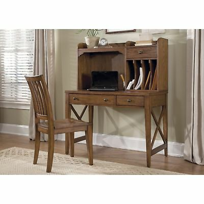Hearthstone Rustic Oak Writing Desk Hutch