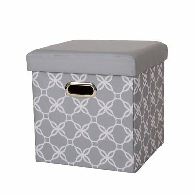 Glitzhome Gray Oxford Foldable Storage Ottoman w/Padded Seat