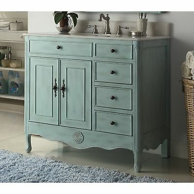 "38"" Benton Collection Fayetteville L. Blue Bathroom Sink Vanity & BS"