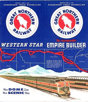 Great Northern Railway system passenger time table, June 8, 1958 - 35 pages