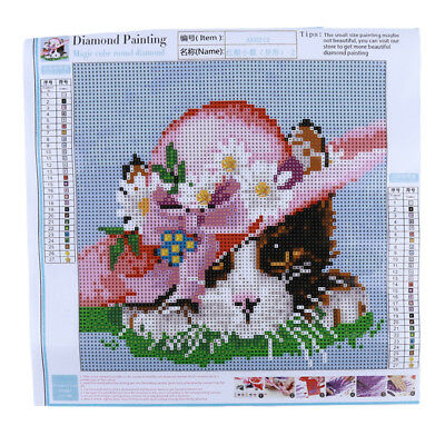 DIY Cat Flower Hat Embroidery Mosaic Cross Stitch Resin Faux Diamond Decor S