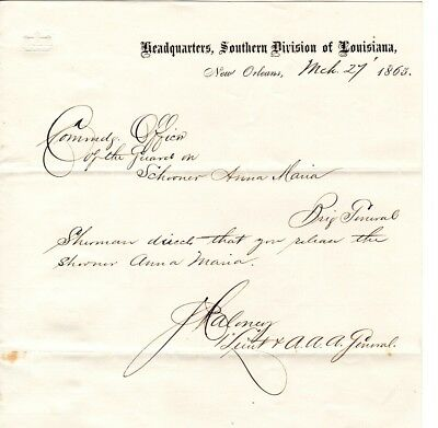 1865, Lakeport, Louisiana, Capt. Boothby ,signed pass for Schooner Anna Maria