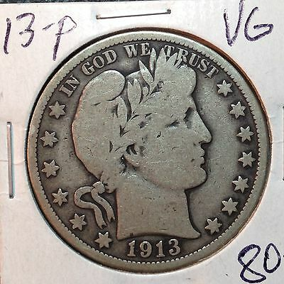 1913-P  Nice VG   Barber Half Dollar     LY and most of IT