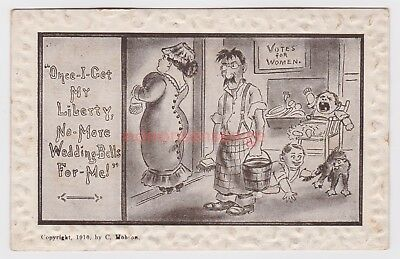 """SUFFRAGETTE """"ONCE I GET MY LIBERTY..."""" Votes For Women HOBSON POSTCARD 1911 - 18"""