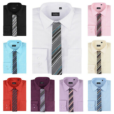 Kids Boys Long Sleeves Formal Box Tie Shirts 1-15 Years